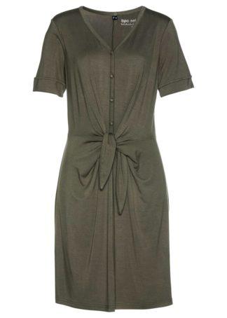 Sukienka shirtowa z przewiązaniem bonprix ciemnooliwkowy