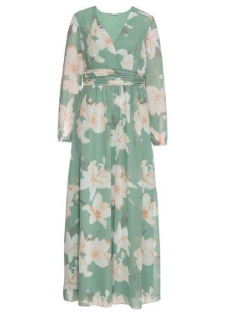 Długa sukienka w kwiaty bonprix pastelowy zielony w kwiaty