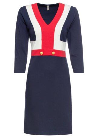 Sukienka z guzikami bonprix ciemnoniebiesko-biało-czerwony