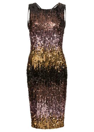 Sukienka shirtowa na party bonprix jasnoróżowo-złocisto-brązowy w paski