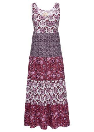 Długa sukienka bawełniana z dżerseju bonprix jeżynowy wzorzysty