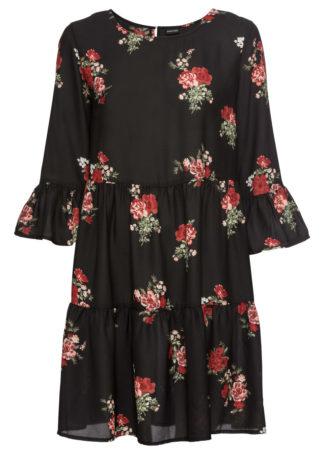 Sukienka z falbanami bonprix czarny z nadrukiem