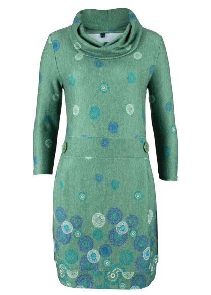 Sukienka z miękkiego materiału z nadrukiem bonprix zielony z nadrukiem