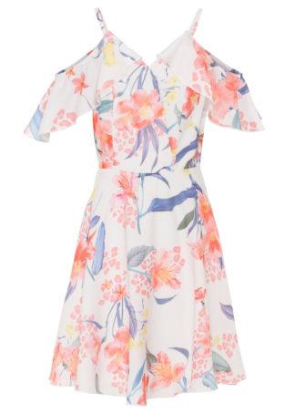 Sukienka z nadrukiem bonprix biel wełny w kwiaty