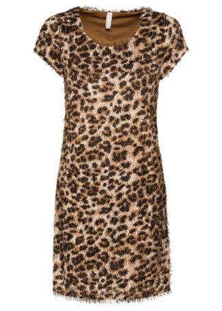 Sukienka z frędzlami bonprix beżowo-czarny leo