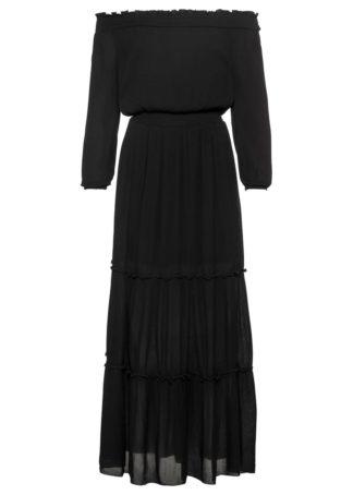 """Długa sukienka z dekoltem """"carmen"""" bonprix czarny"""