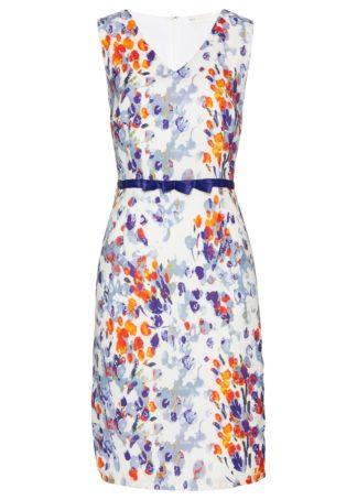 Sukienka ołówkowa bonprix biały z kolorowym nadrukiem