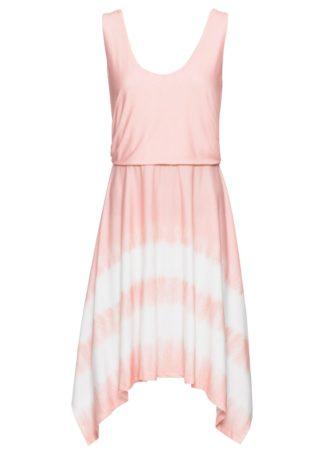 Sukienka z dżerseju w batikowy deseń bonprix jasny koralowy - biel wełny z nadrukiem