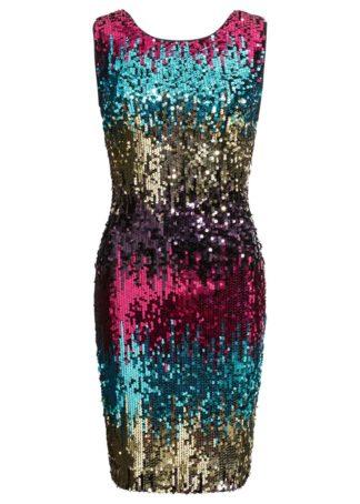 Sukienka z cekinami na party bonprix różowo-niebieski wzorzysty