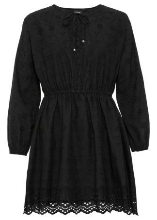Sukienka z haftem i koronką bonprix czarny
