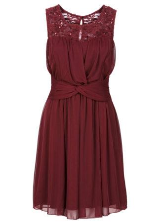 Sukienka z koronką bonprix bordowy