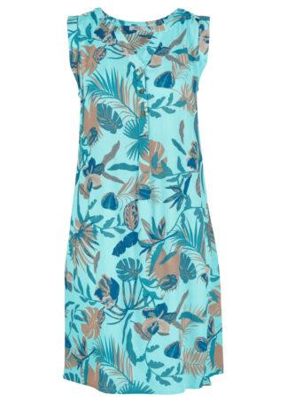 Sukienka koszulowa z kreszowanego materiału z plisą guzikową bonprix morski turkusowy z nadrukiem