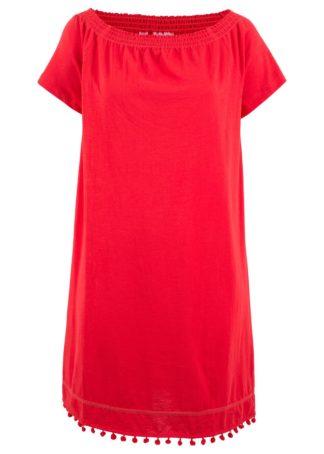 """Sukienka z dżerseju z dekoltem """"carmen"""" bonprix truskawkowy"""