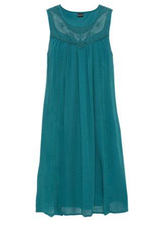 Sukienka z koronką bonprix niebieskozielony