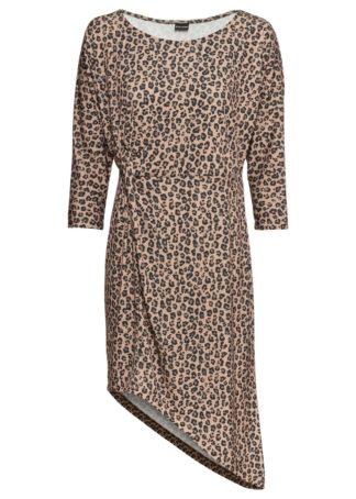 Sukienka z asymetryczną linią dołu bonprix beżowy leo