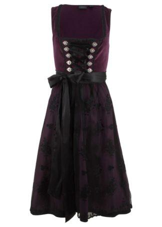 Sukienka ludowa z materiału w optyce aksamitu bonprix czarny bez