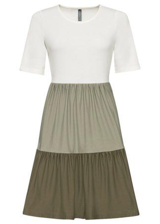 Sukienka bonprix biel wełny - khaki - zielony khaki