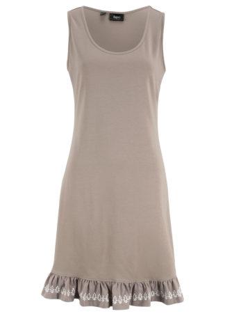 Sukienka z dżerseju z bordiurą bonprix jasnooliwkowy