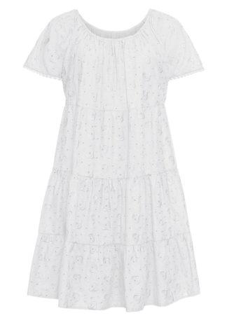 Sukienka z ażurowym haftem bonprix biały