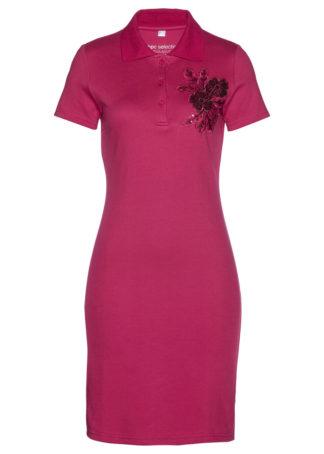 Sukienka shirtowa polo bonprix jeżynowo-czerwony