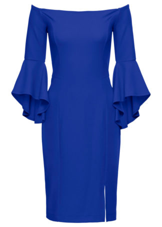 Sukienka z dekoltem carmen i rozkloszowanymi rękawami bonprix ciemnoniebieski