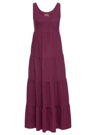 Długa sukienka bawełniana z dżerseju bonprix jeżynowy