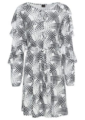 Sukienka z wiązanym paskiem bonprix biało-czarny wzorzysty