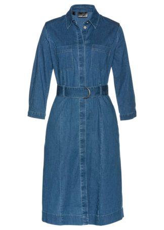 "Sukienka dżinsowa z paskiem bonprix niebieski ""bleached"""