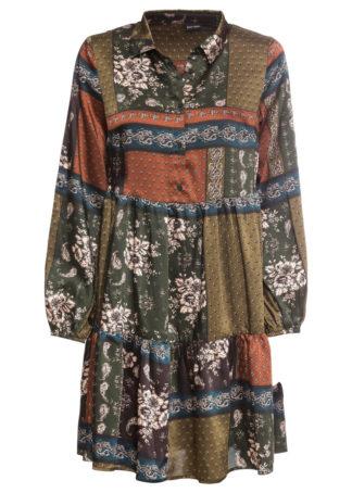 Sukienka koszulowa z falbaną bonprix oliwkowo-brązowy wzorzysty