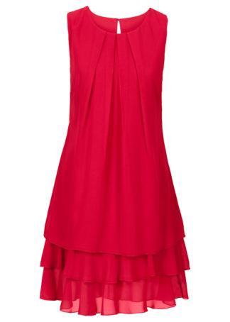 Sukienka szyfonowa bonprix czerwony