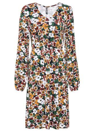 Sukienka w kwiaty bonprix czarno-zielono-czerwony karminowy w kwiaty