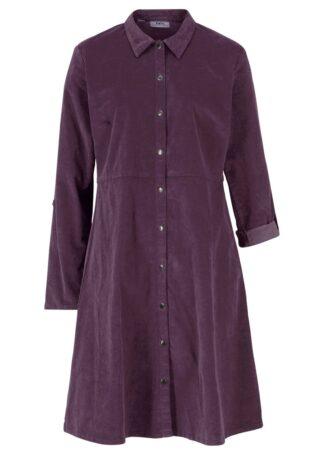 Sukienka sztruksowa ze stretchem bonprix czarny bez
