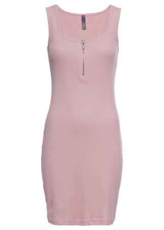 Sukienka shirtowa w prążek bonprix różowobrązowy