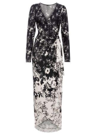 Sukienka z nadrukiem bonprix czarno-kremowy w kwiaty