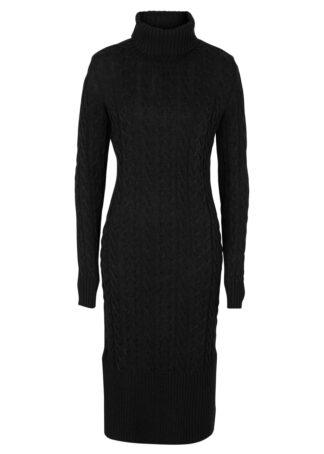 Długa sukienka dzianinowa w strukturalny wzór bonprix czarny