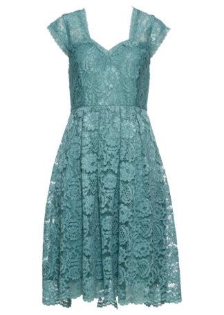 Sukienka midi z koronką bonprix niebieski mineralny