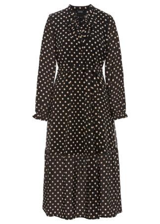 Sukienka z falbaną bonprix czarny - latte macchiato w kropki
