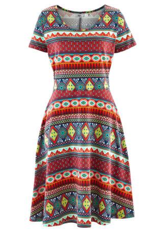 Sukienka z krótkim rękawem bonprix kobaltowy z nadrukiem