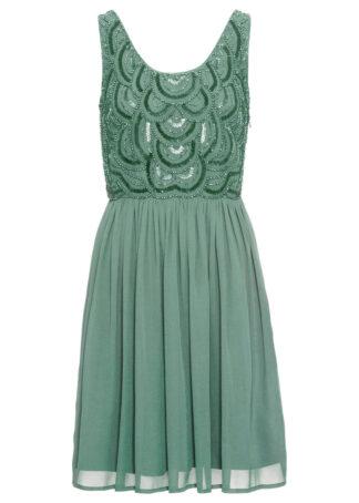 Sukienka z aplikacją z perełek bonprix zielony pastelowy