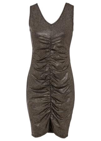 Sukienka z brokatowym połyskiem i marszczeniem bonprix czarny metaliczny