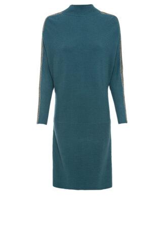 Sukienka dzianinowa z aplikacją bonprix zielony pieprz