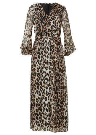 Sukienka maxi bonprix wielbłądzia wełna - jasnobrązowo-czarny leo z nadrukiem