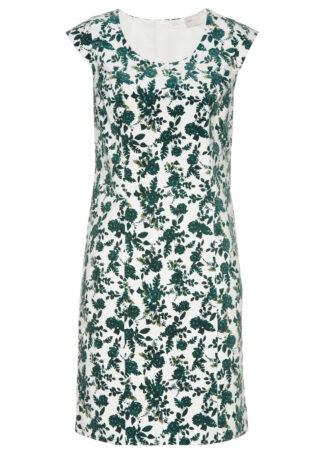 Sukienka sztruksowa bonprix ciemnozielony w roślinny wzór