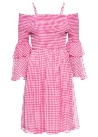 Sukienka cold-shoulder bonprix różowo-biały w kratę