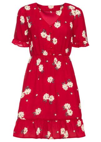 Sukienka z falbanami bonprix ciemnoczerwony w kwiaty