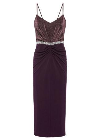 Sukienka z brokatowym połyskiem bonprix ciemny lila
