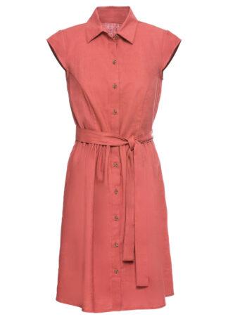 Sukienka z lnu z guzikami bonprix brązowy marsala