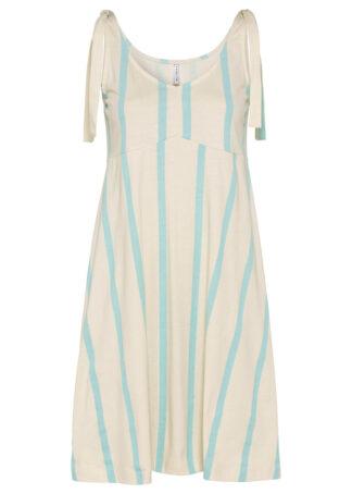 Sukienka w paski bonprix naturalno - matowy morski w paski