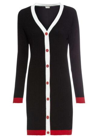 Sukienka dzianinowa z guzikami bonprix czarno-czerwony