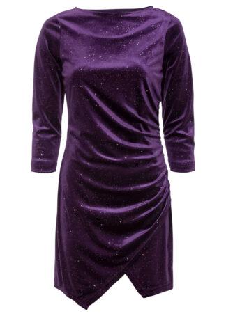 Sukienka z materiału w optyce aksamitu bonprix ciemny lila